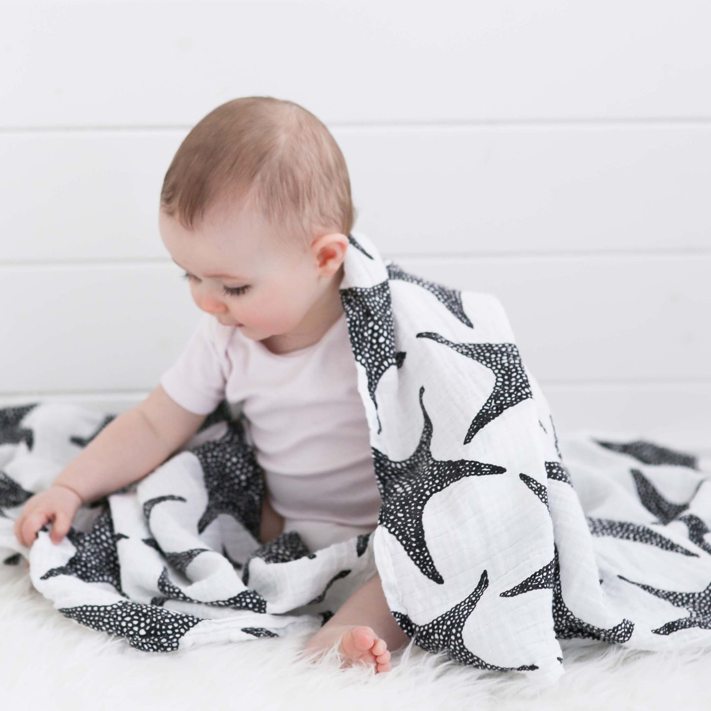Extra Large Sttarfish Print  Sensory Muslin by Etta Loves, £24, Lobella Loves