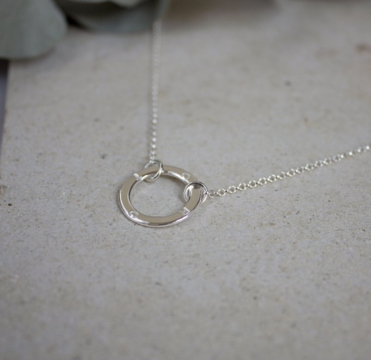 Sterling Silver Set Circle Necklace - £34, Stanley & Maud