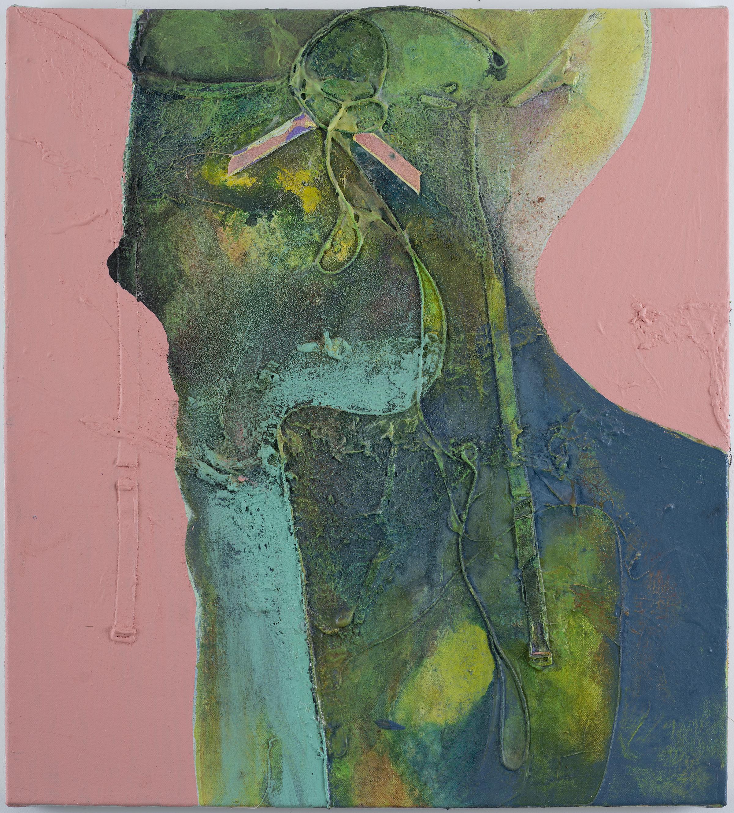 "M. Page Greene, Pink Ribbon, 2016, acrylic with nylon, hemp, salt and paper on canvas. 22"" x 20"""