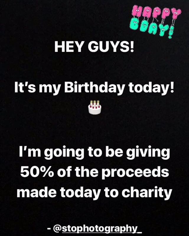 Hey guys, I'm going to be giving away 50% of proceeds made from @thecreativephotographyshop to the NSPCC today in celebration of my Birthday ❤️