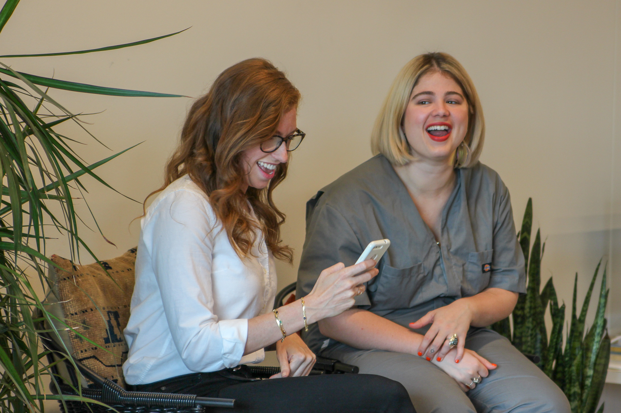 A * candid * laugh with Jane.