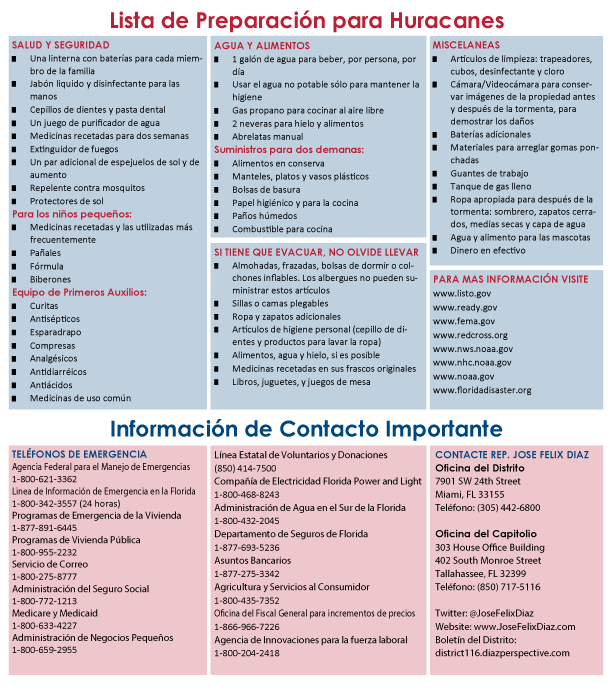 Spanish Hurricane Preparedness Checklist