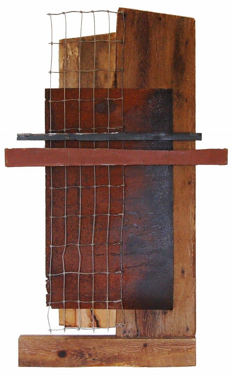 Palisade, 2015 <br> wood, steel <br> (31'' x 50.5'' x 2.5'')