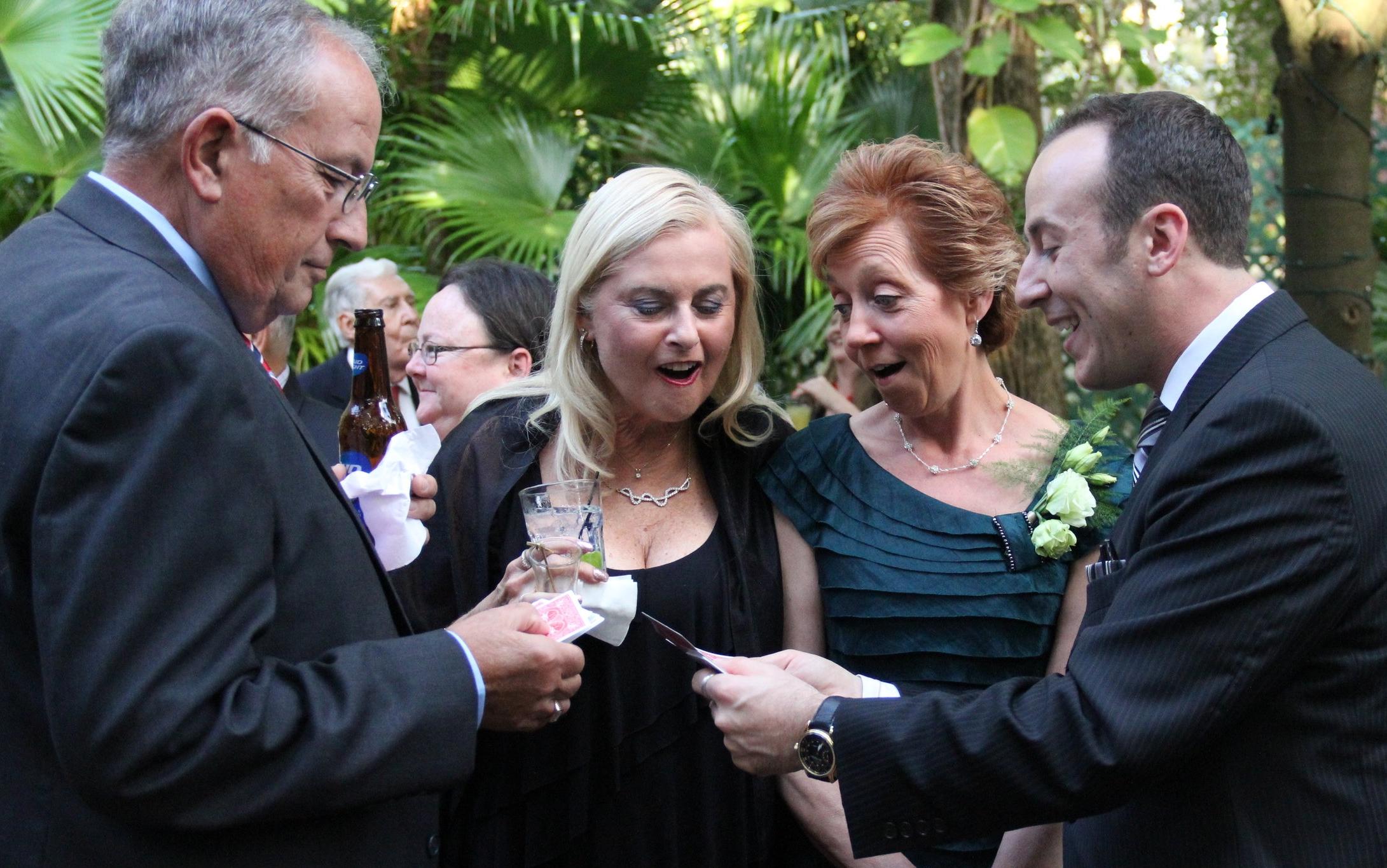 Orlando magician Kostya Kimlat performs at weddings during cocktail hour