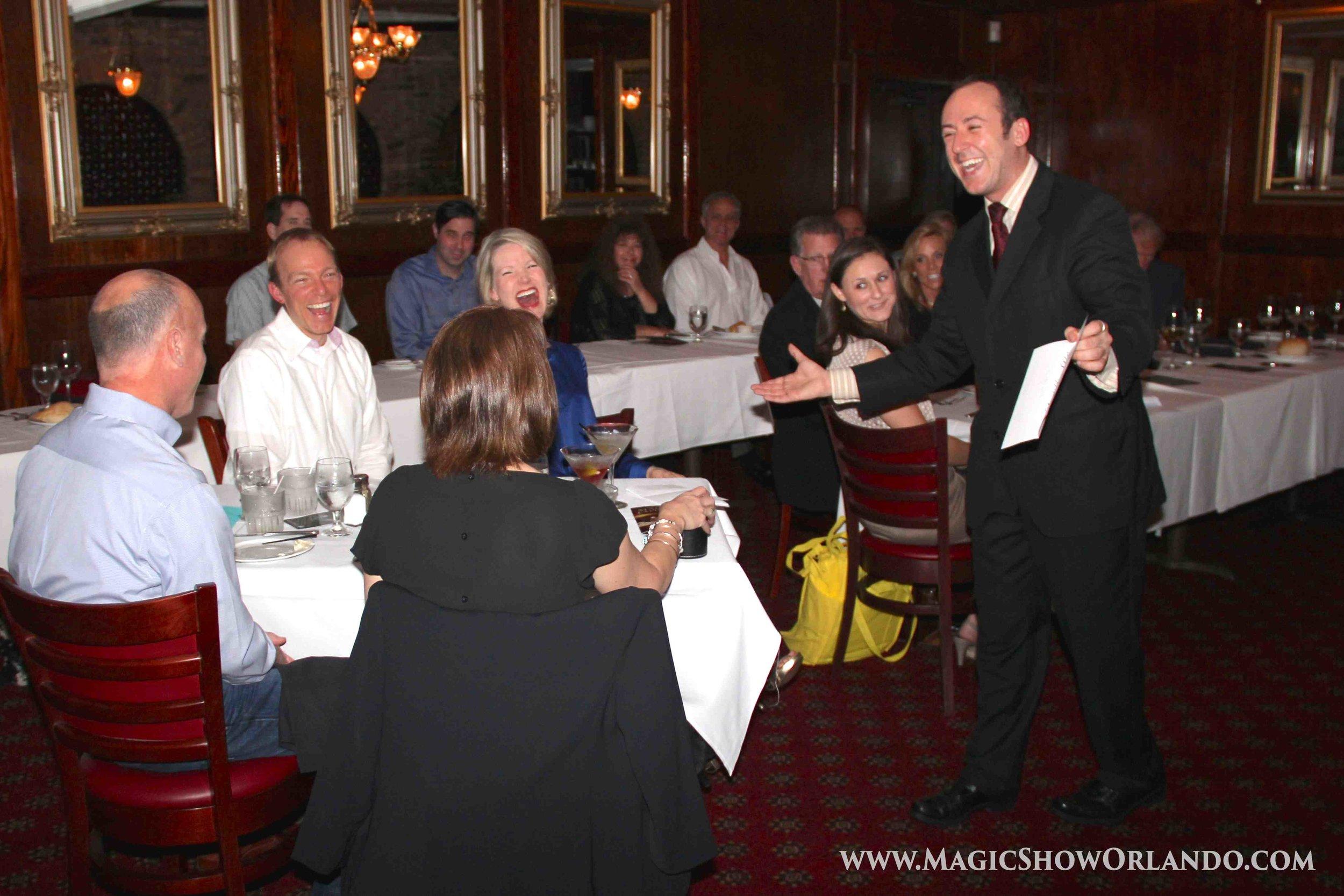 Orlando Magician Kostya Kimlat performs a magic dinner show at Christern's