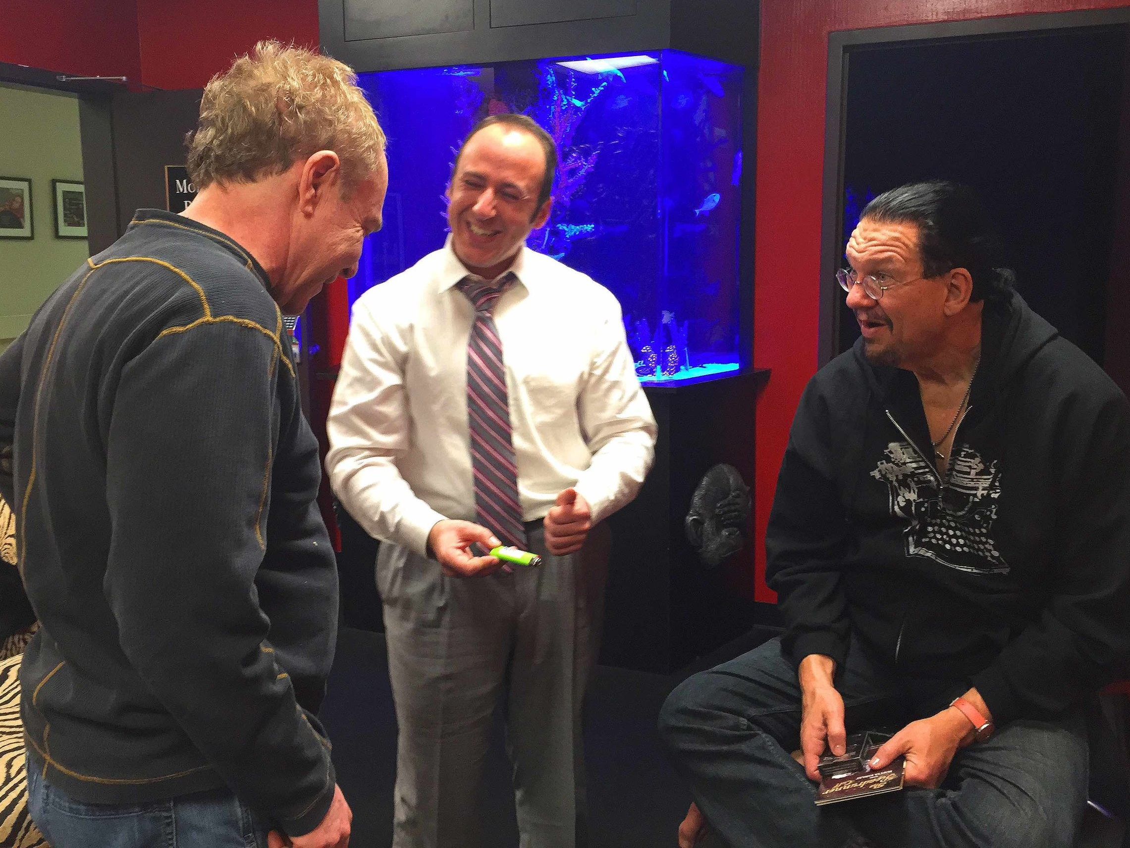 """Performing """"Warning"""" for Penn & Teller backstage at the Rio Theater, Las Vegas"""