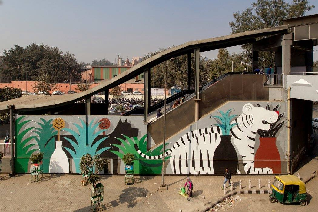 Agostino Lacurci's mural at Govind Metro Station, photo by The Blind Eye Factory