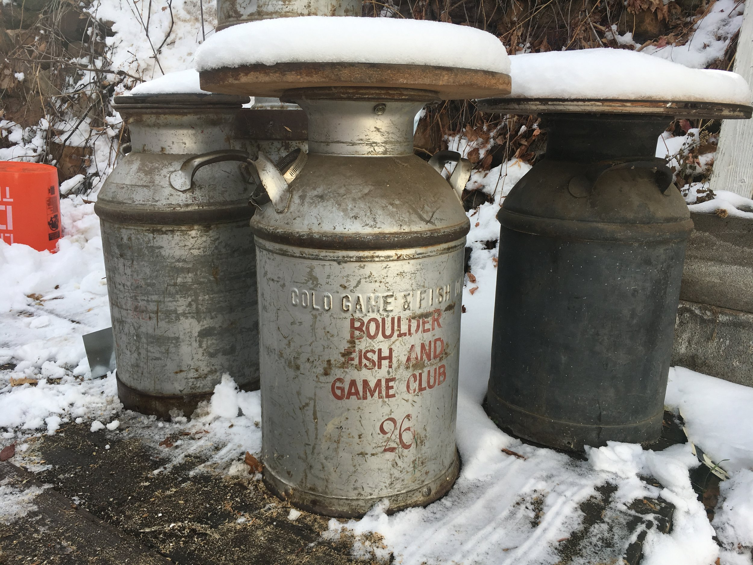 These old milk jugs were used to hold fish for the high lake stocking.