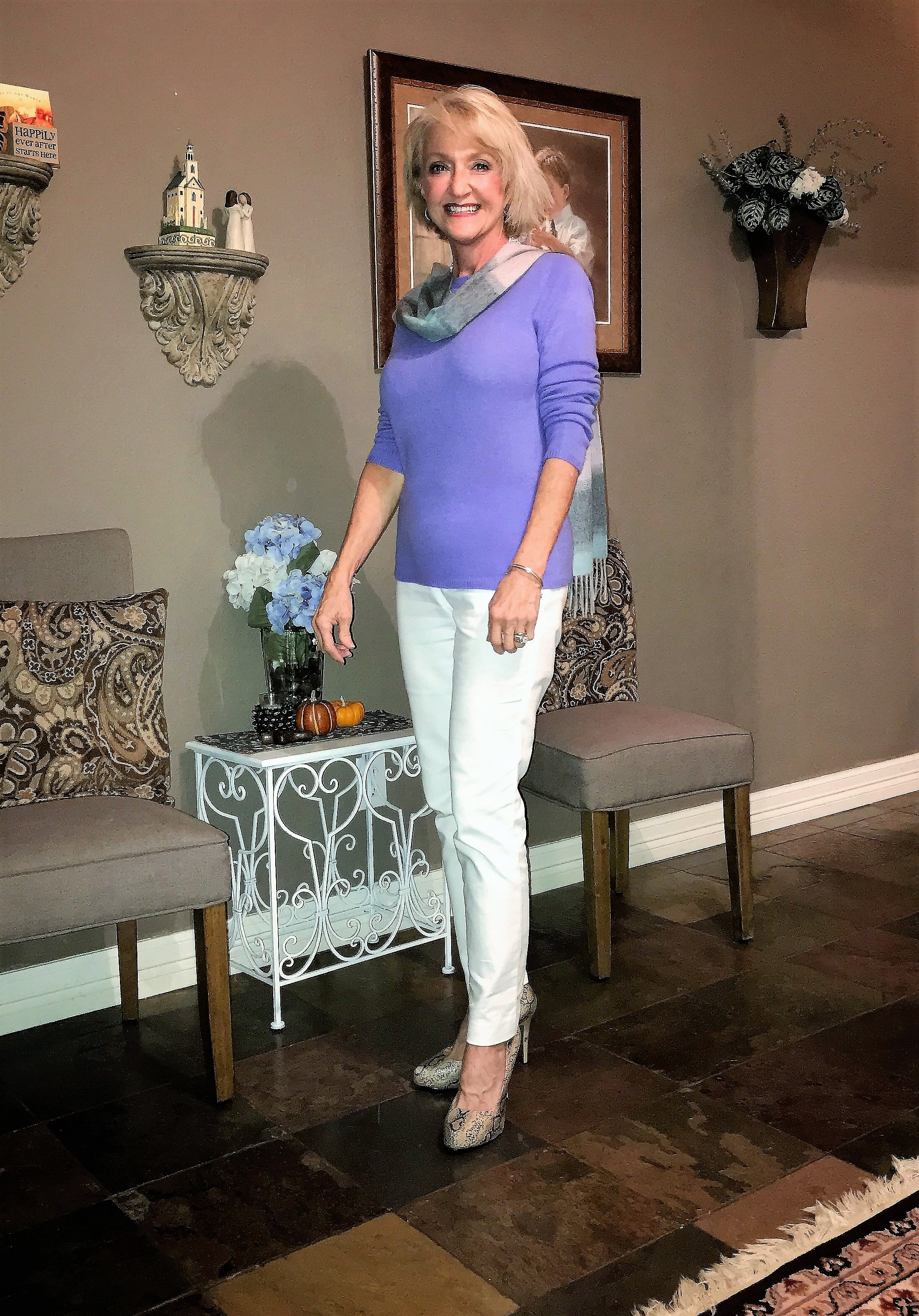 I love Cashmere. It is so soft and luxurious and comes in gorgeous colors and patterns.