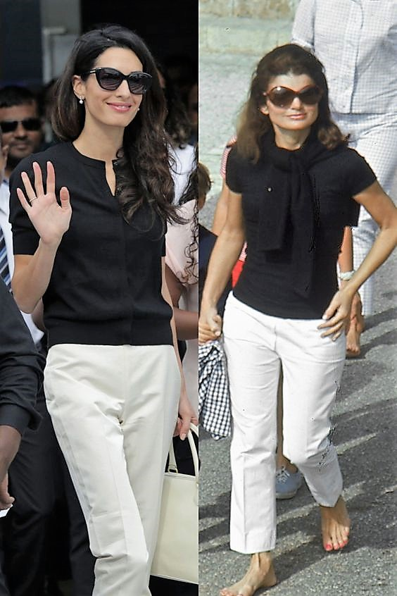 TWO BEAUTIFUL WOMEN IN A TRULY CLASSIC STYLE!!  I LOVE THAT JACKIE O. IS BAREFOOT....MY FAVORITE FOOTWEAR!
