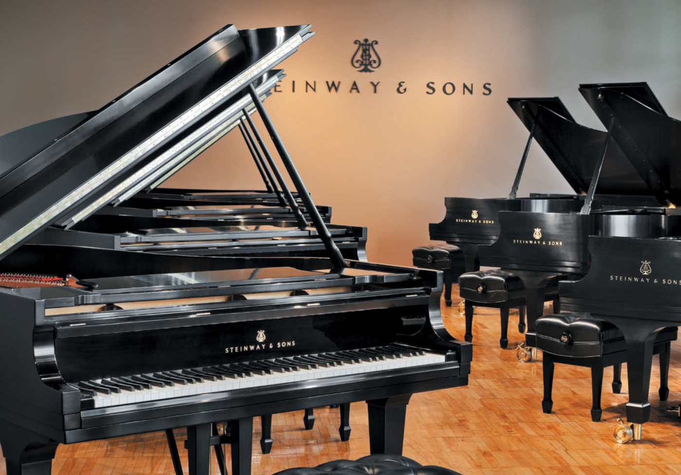 New polished piano finishes at the Steinway & Sons factory selection room in Long Island City, N.Y.