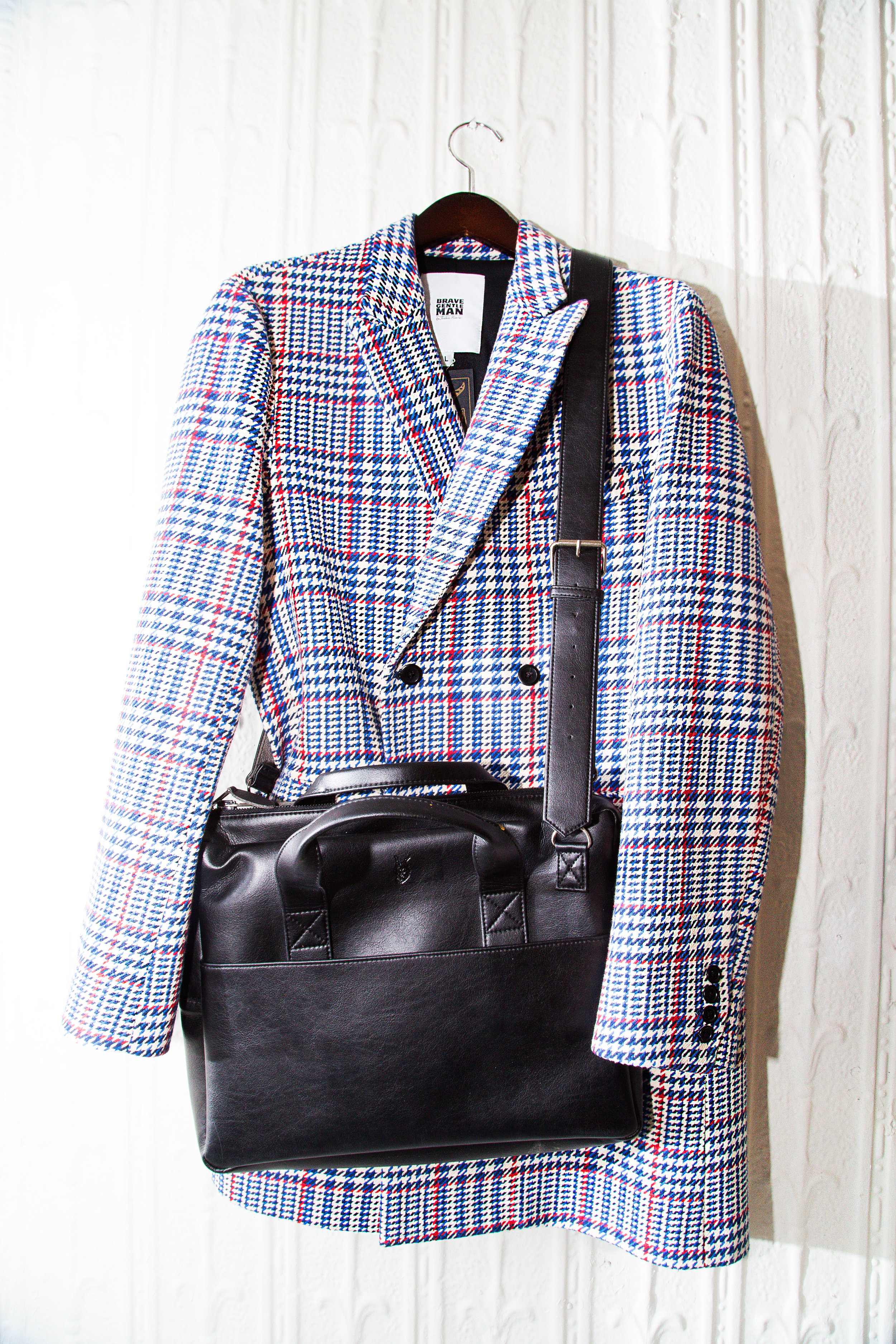 Double-breasted Overcoat in multi-color Houndstooth.