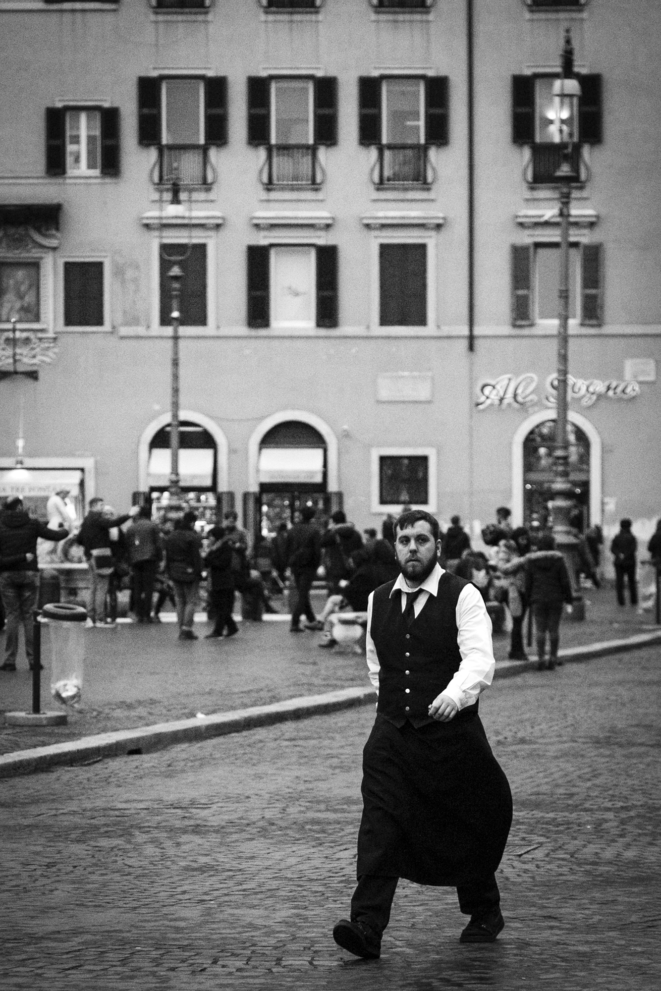 A waiter on Piazza Navona