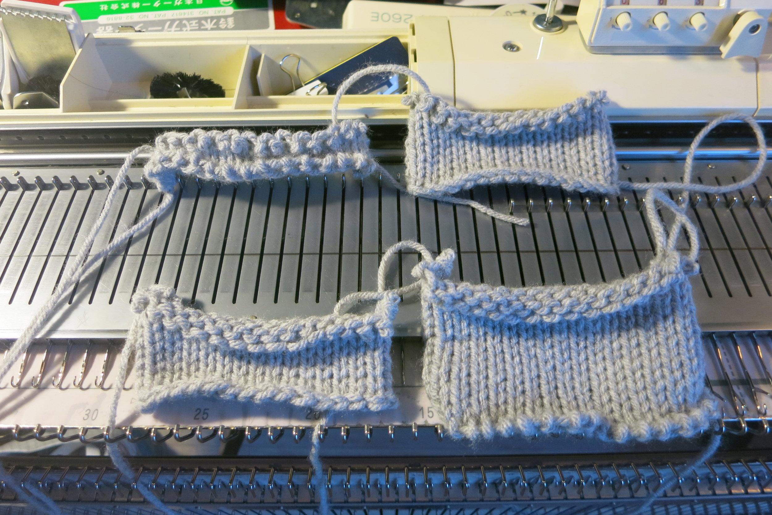 4 ways of machine knitting cast on.