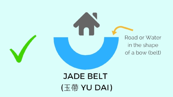 This is a good Feng Shui when a road  or water in front of the house embracing the house like a jade belt.