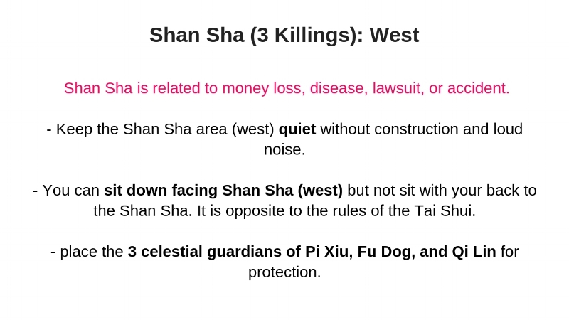 West is the general term for the Shan Sha location. It acturally covers 3 mountains in the 24 mountain directions.