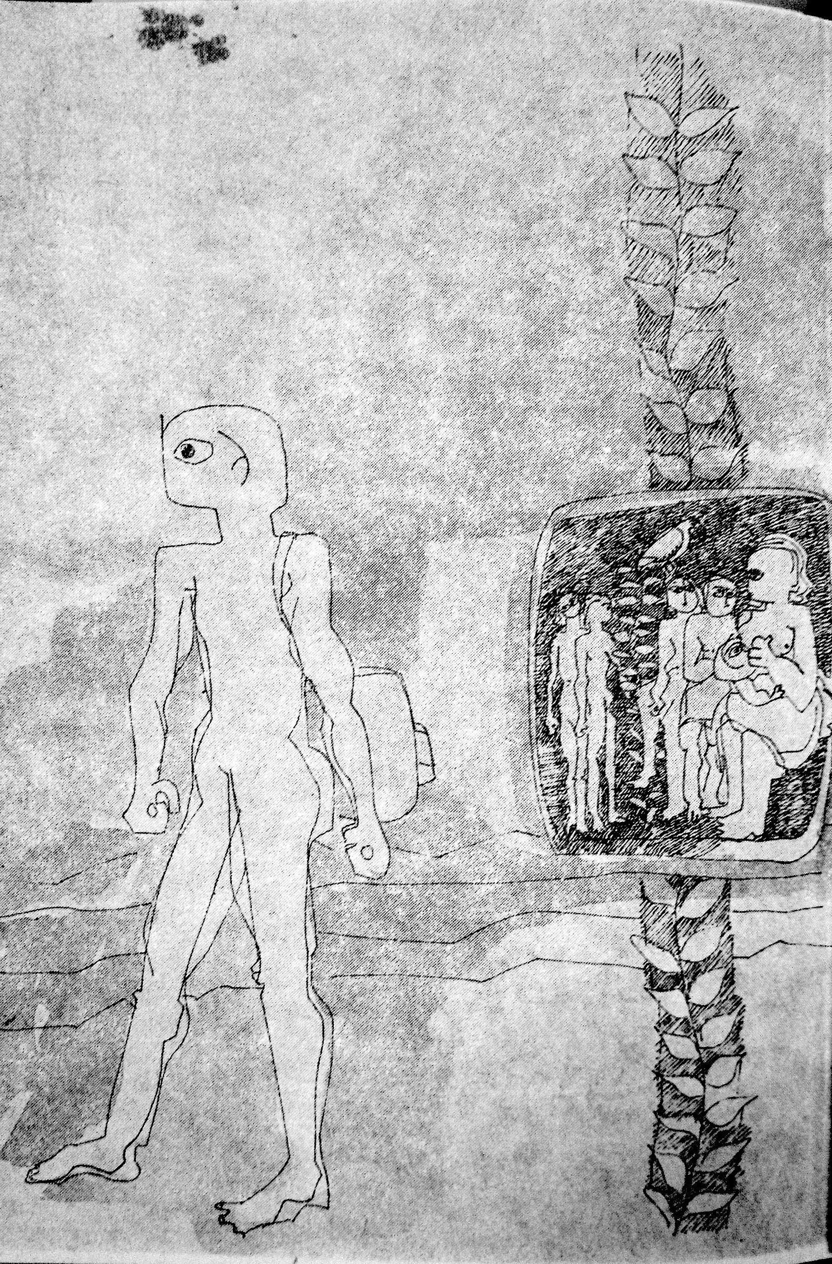 Third in a series by Mona Saudi, in Ghassān Kanafānī's  al-Āthār al-kāmilah , Vol. 1 (Beirut: Dār al-Ṭalīʿah, 1972).