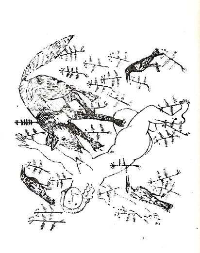 """From p. 67 of  He Who Comes and Does Not Come (1966), following the poem """"Death"""" (الموت). A wolf eats a dead woman, struck down by arrows. Carrion birds wait on the margins."""