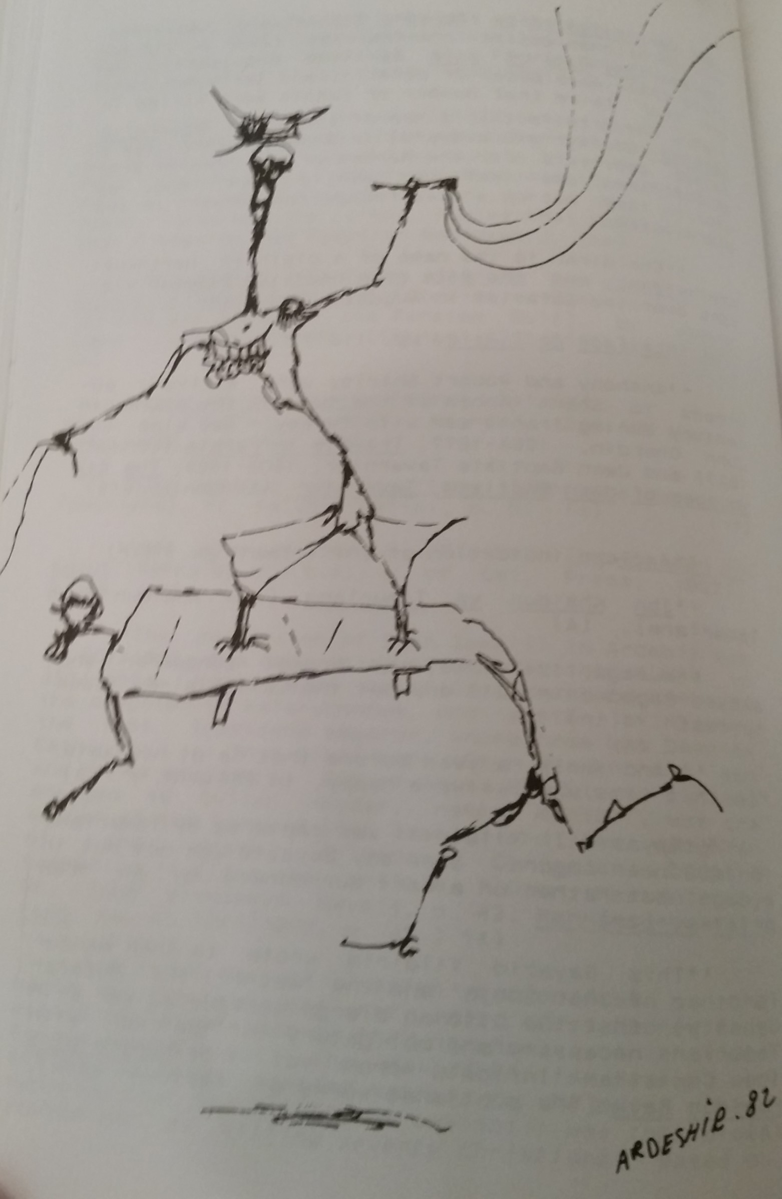 """The title of this post is from Aḥmad Shāmlū's 1951 collection  The Manifesto , from the poem """"Until the Red Blossom of a Shirt."""" The drawing is, again, from  Gharbzadegi by Āl-i Aḥmad."""