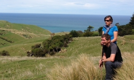 Roger and Nicki Beatte overlooking their farm at Kowhai Vale.