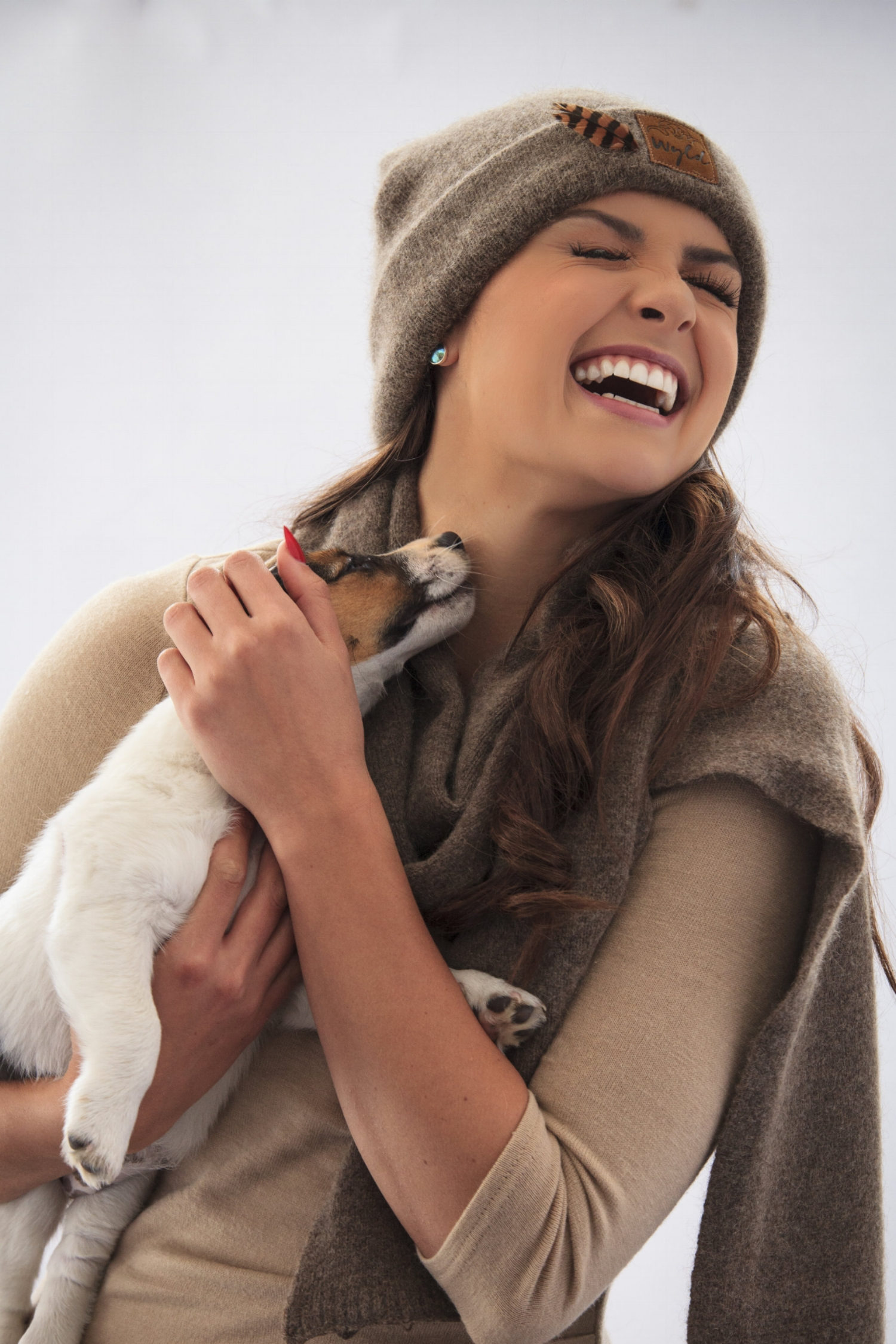 Miss world New Zealand with Lexi wearing Weka Woo hat and Wyld scarf