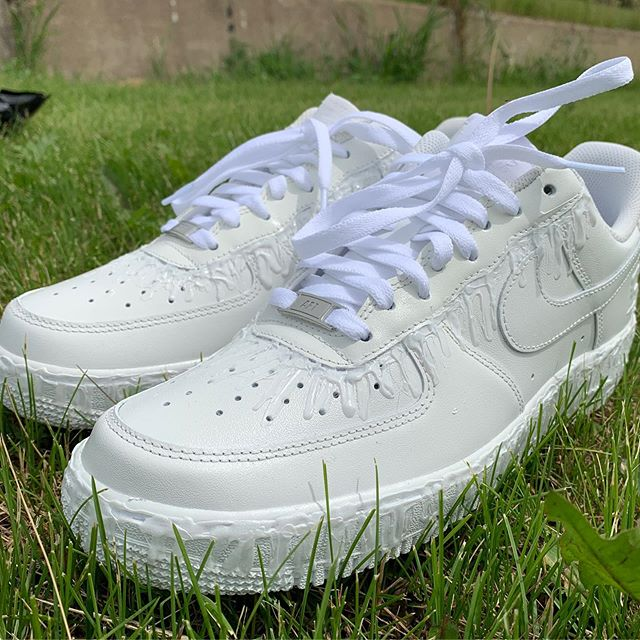 """""""Dripping"""" Air Force 1s. Each shoe is hand painted with epoxy.  Now available on the online store."""