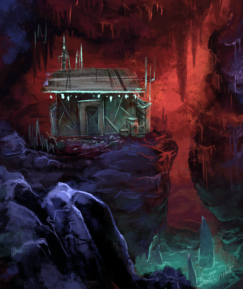 Dr Wilkins' personal shack deep in the cavern biome.