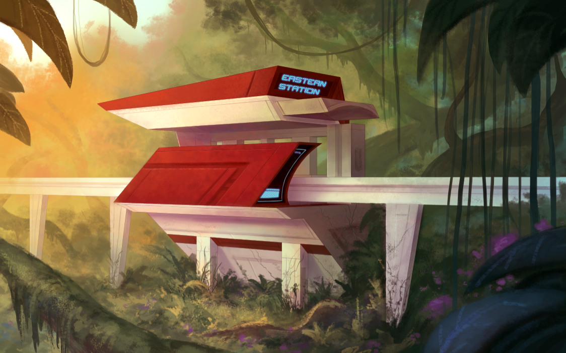A monorail station on the way to a Quasar Flood facility in the jungle.