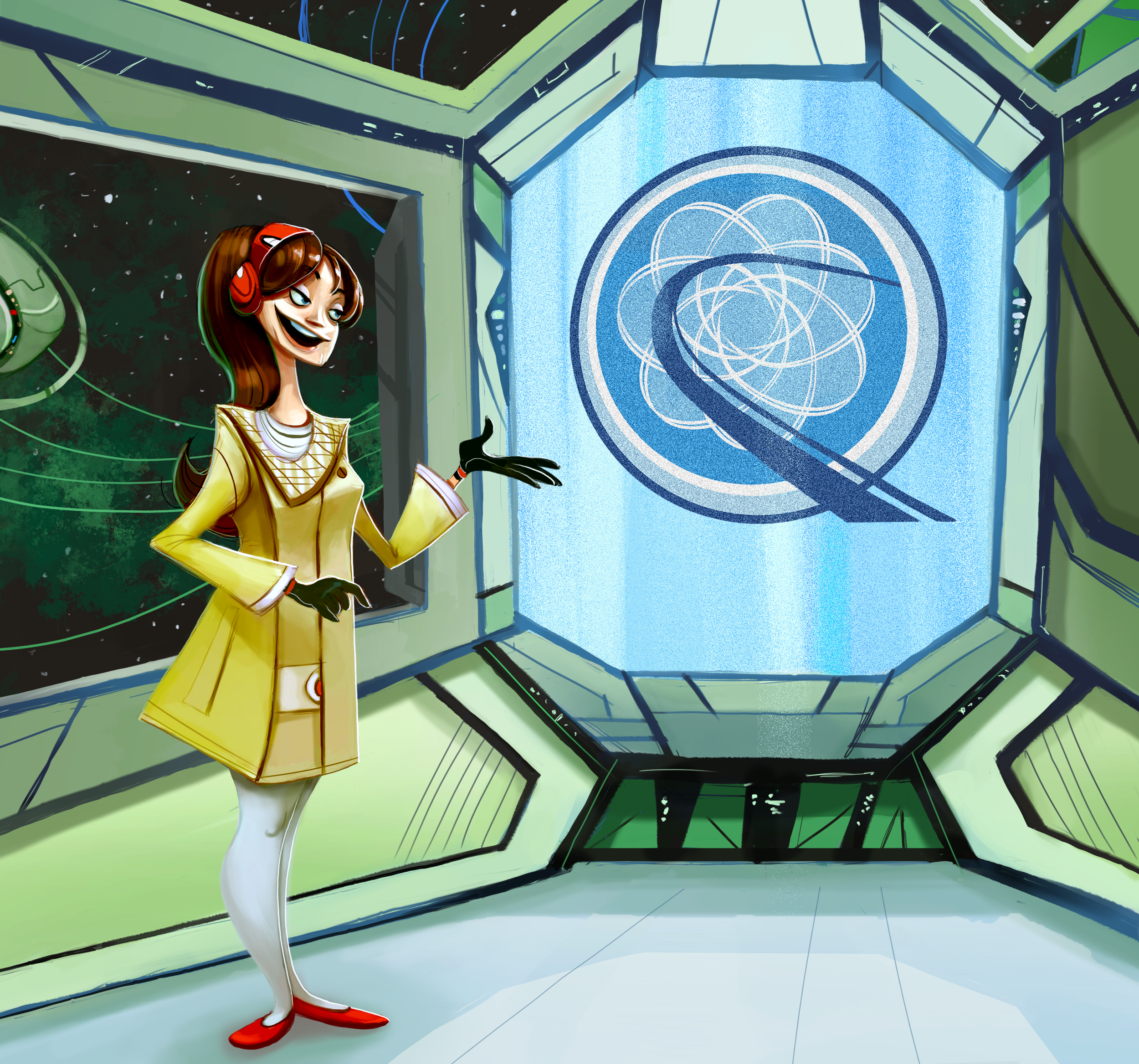 Welcome to Electron Lagoon, the cutting edge space station created by the group Quasar Flood. This is Lena, Quasar Flood's spokesperson and official Electron Lagoon tour guide.