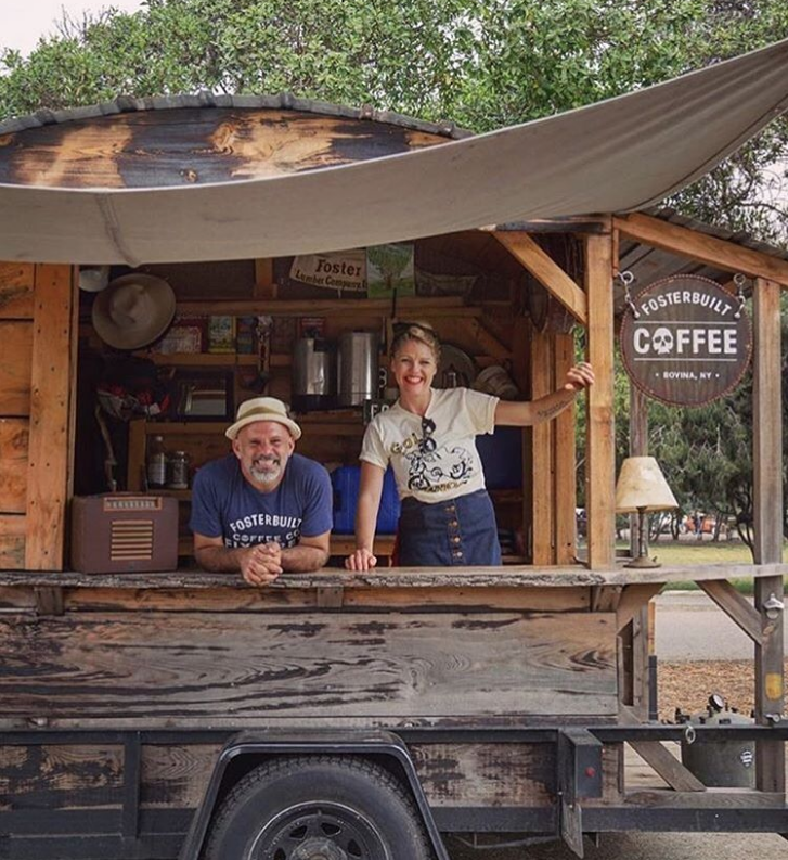 Mark Foster and Siobhan Barrett in the FosterBuilt mobile coffee shop. Photo by Danielle Bernabe