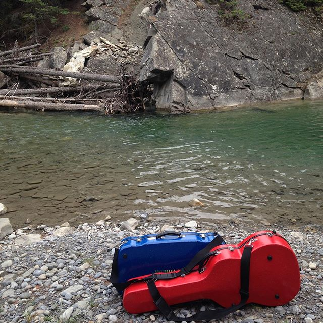 There is something about a case worthy of an expedition. @mainstagecases . . . TheCorryBoys.com . #fiddle #guitar #river #violin #musicians #hiking #outdoors #travel #case #music #rockymountains