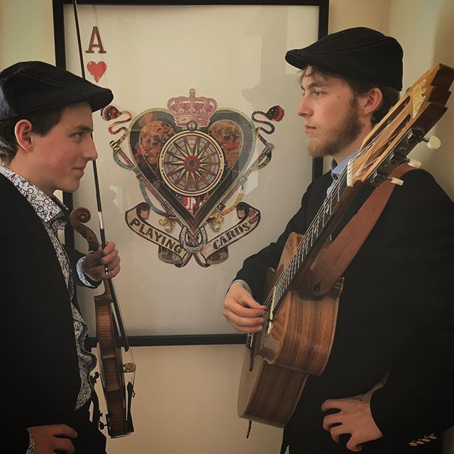 A class act. . . . TheCorryBoys.com #fiddle #guitar #class #preshow #suits #hats #music #trad