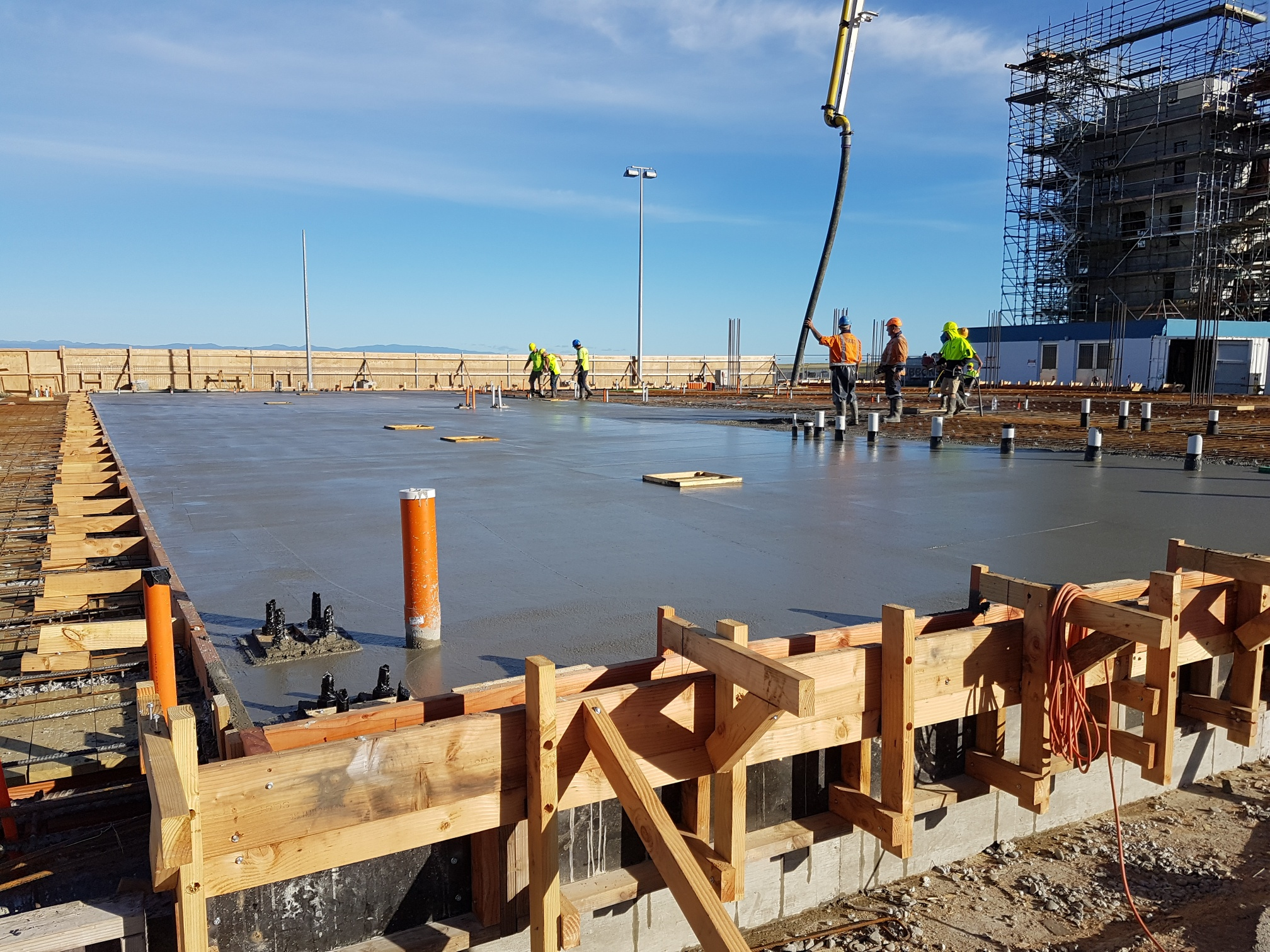 The first slab of concrete being pour into the Nelson Airport terminal foundations