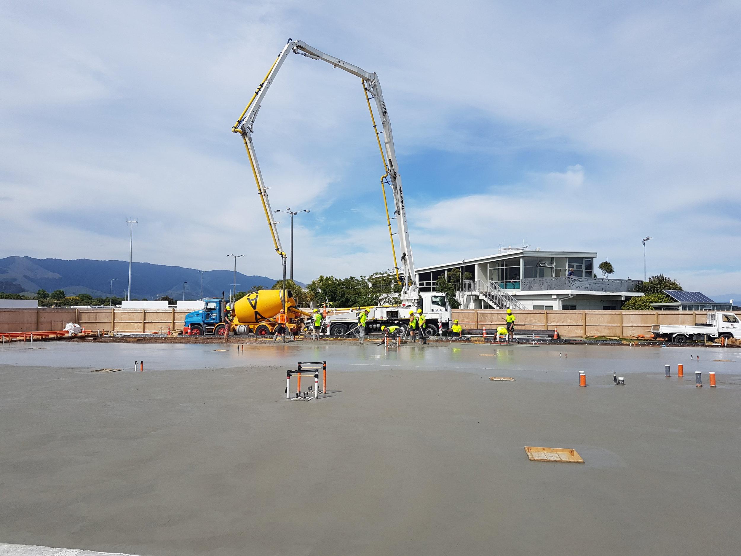 Final concrete pour for Stage A