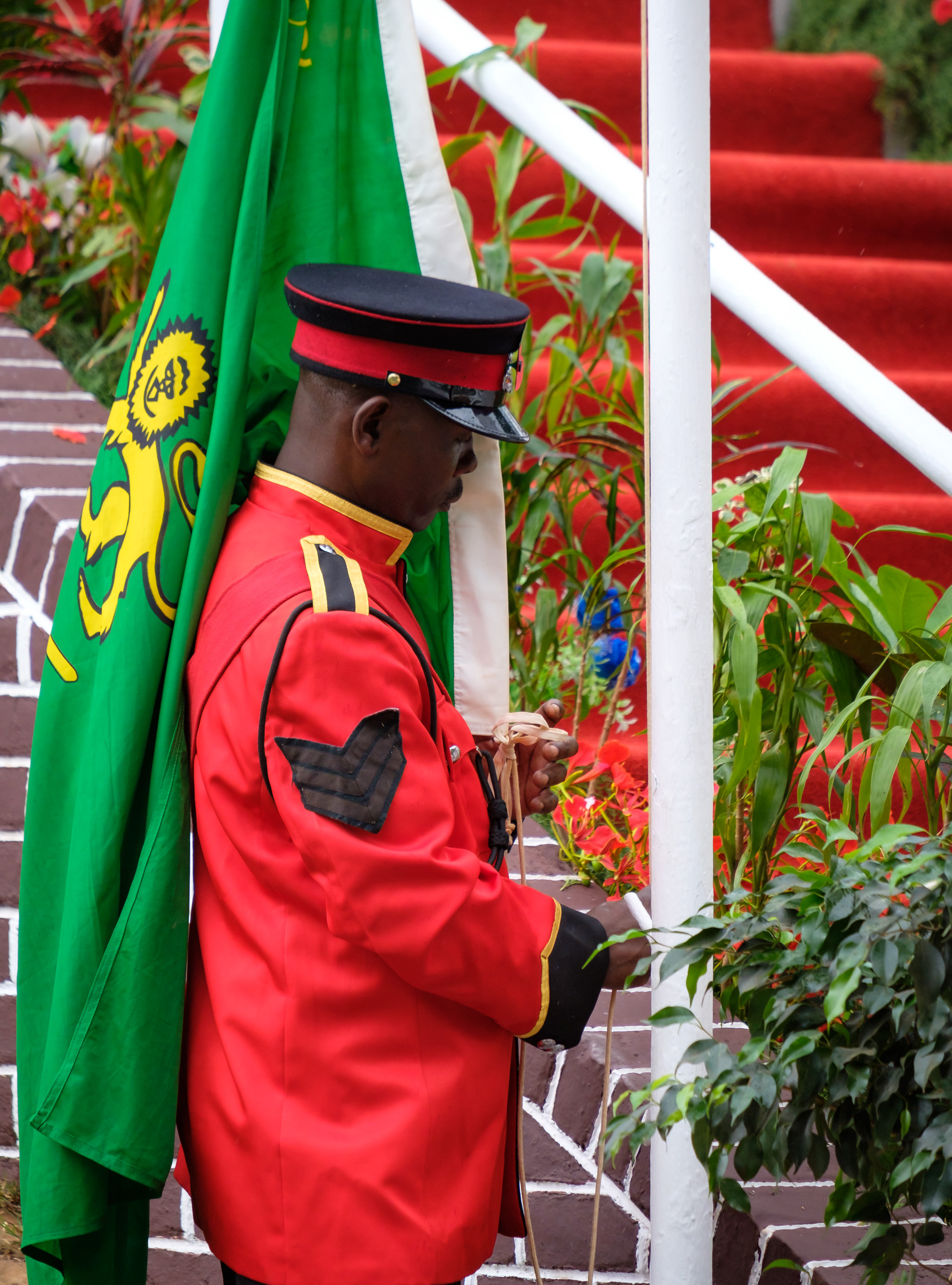 A solider hoists the 1st Malawi Rifles Battalion colors.