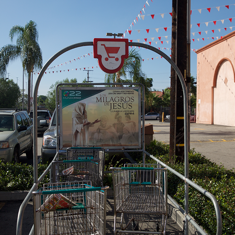 """Reach supermarket shoppers across the top U.S. Hispanic via our Cart Corrals located in the middle of all stores parking lots and adjacent to the stores entrance. These large (two-sheet) 60"""" x 46"""" double-sided & framed advertisements are in full view of vehicular & store customer traffic."""