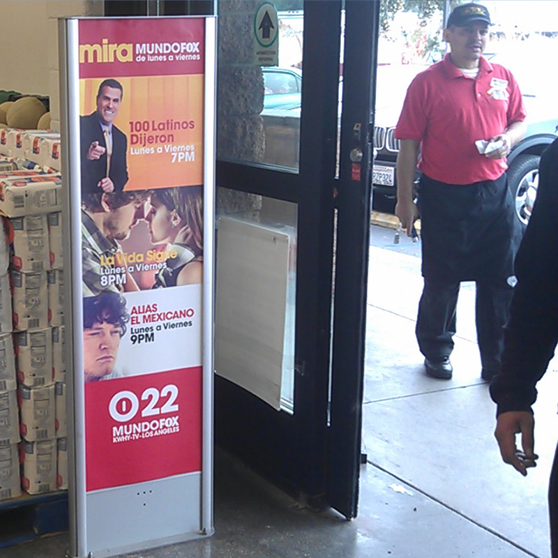 SECURITY TOWERS are a great way to display your brand to anyone entering or exiting the supermarket. Oftentimes first and last impressions are the strongest!
