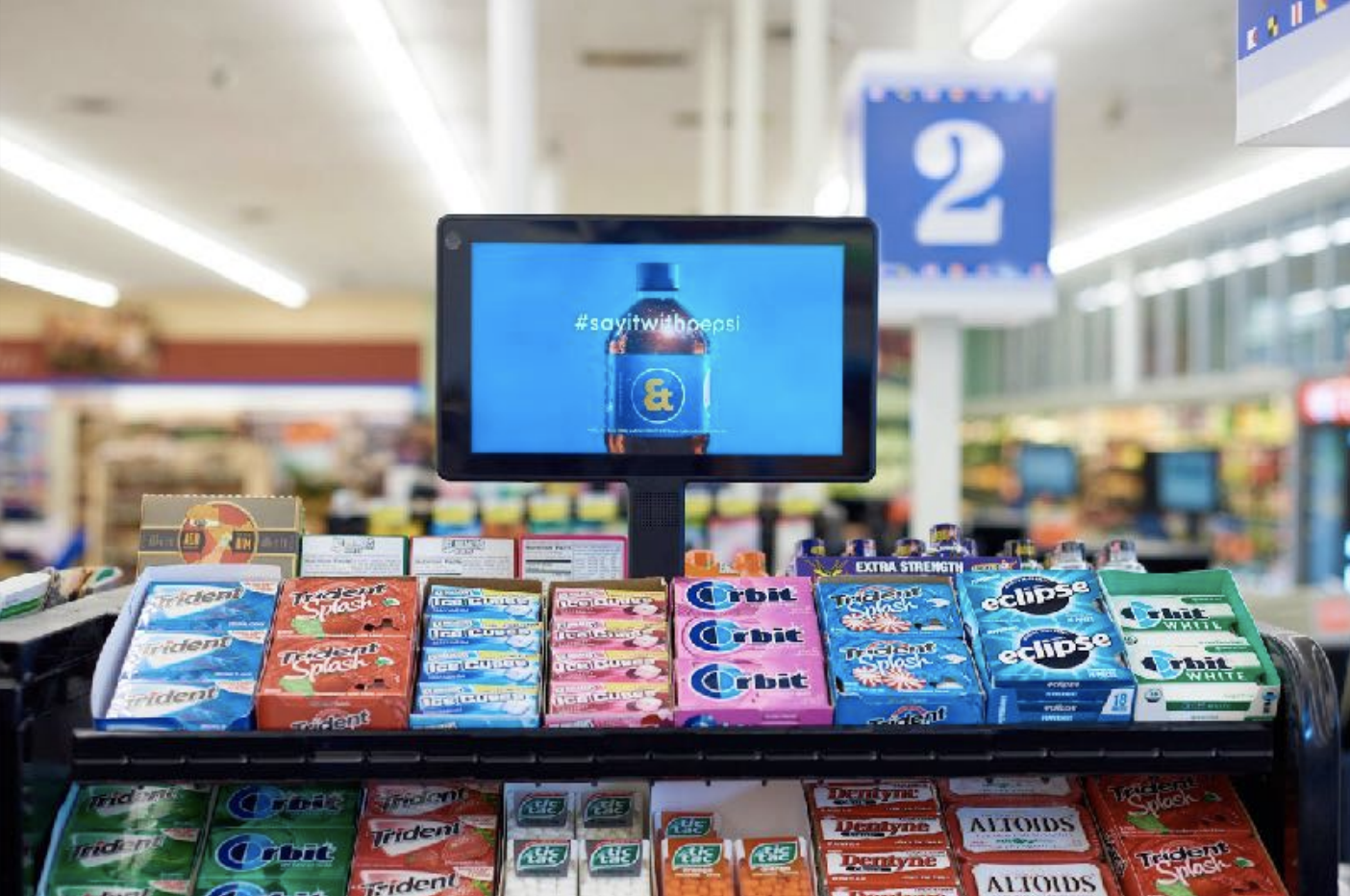 DIGITAL CHECKOUT SCREENS are the perfect way to reach shoppers as they are contemplating their brand purchases. These 12 inch digital screens enable full-motion, branded video messages.