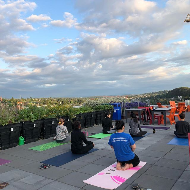 Rooftop yoga! Fun evening class as the skies cleared  #balanedhumans #officeyoga #yogaforlife #yogalifestyle #yogaseattle #rooftopyoga