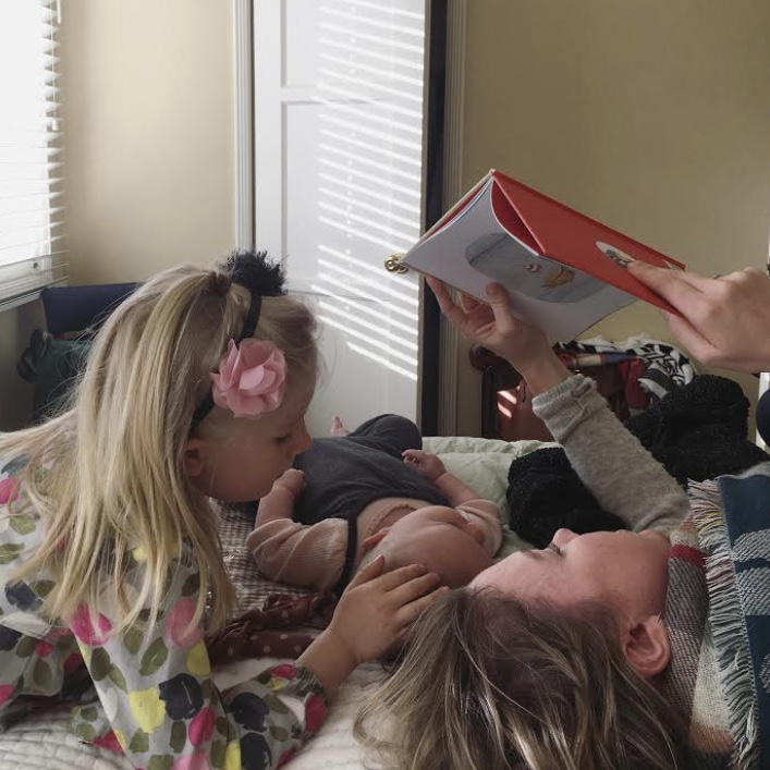 My niece, sister, and daughter reading together