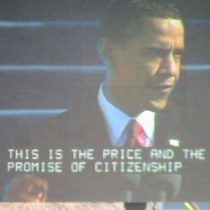 Photo I took with my own camera at the 2009 Inauguration of Barack Hussein Obama. I was there. It was a 14 hour day and I must have walked 10 miles to be there. But I was there. It was magical.