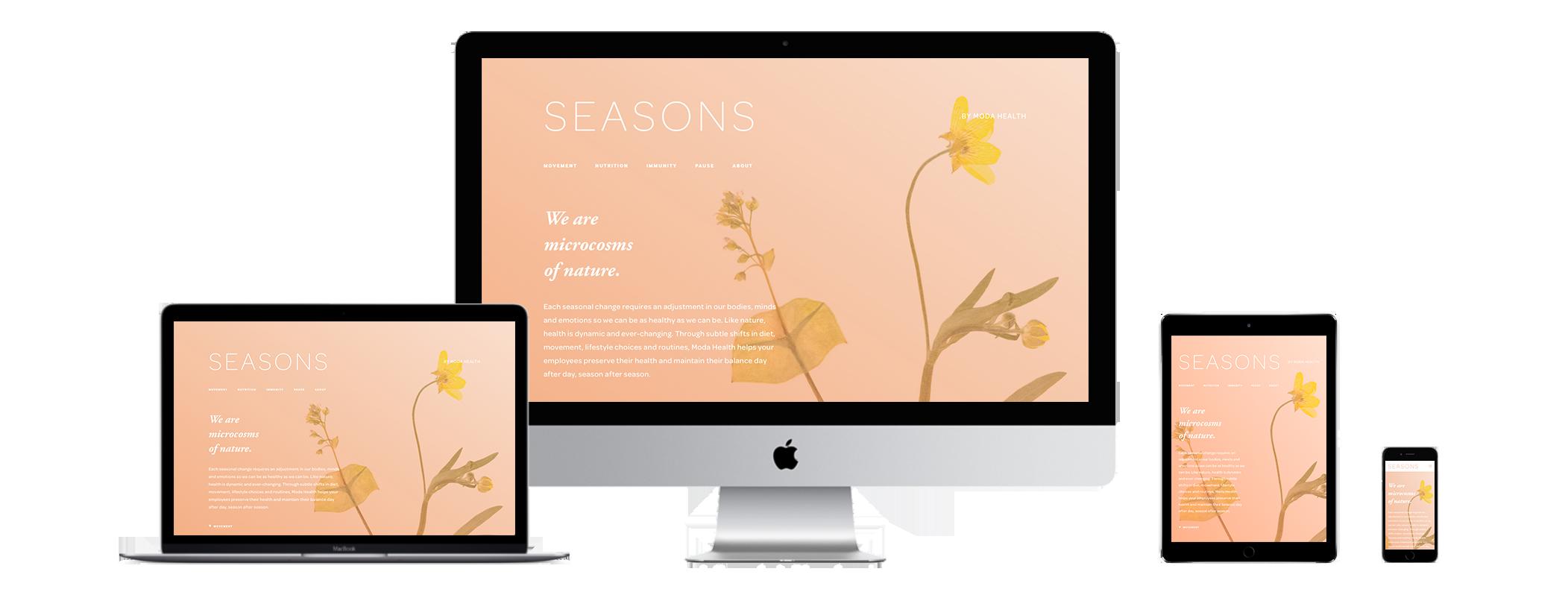 XYZ Design | Seasons Website Device Displays