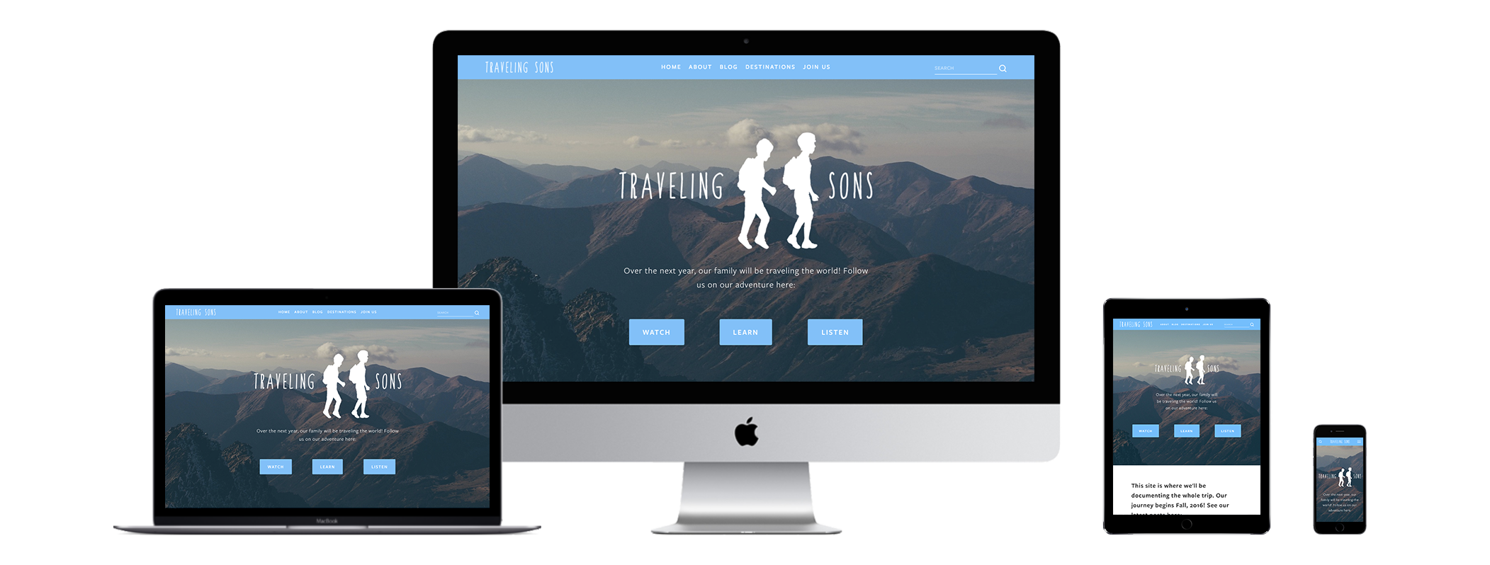 XYZ Design | Traveling Sons Website Device Displays