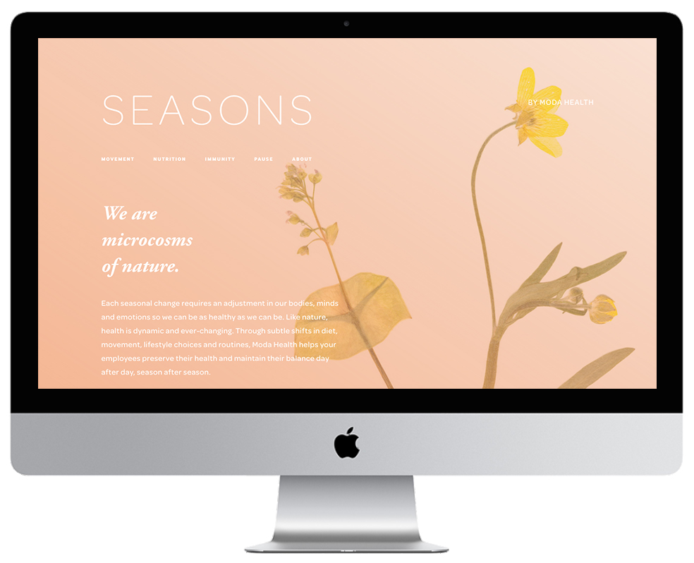 XYZ Design | Seasons by MODA Health Website - Desktop Thumbnail
