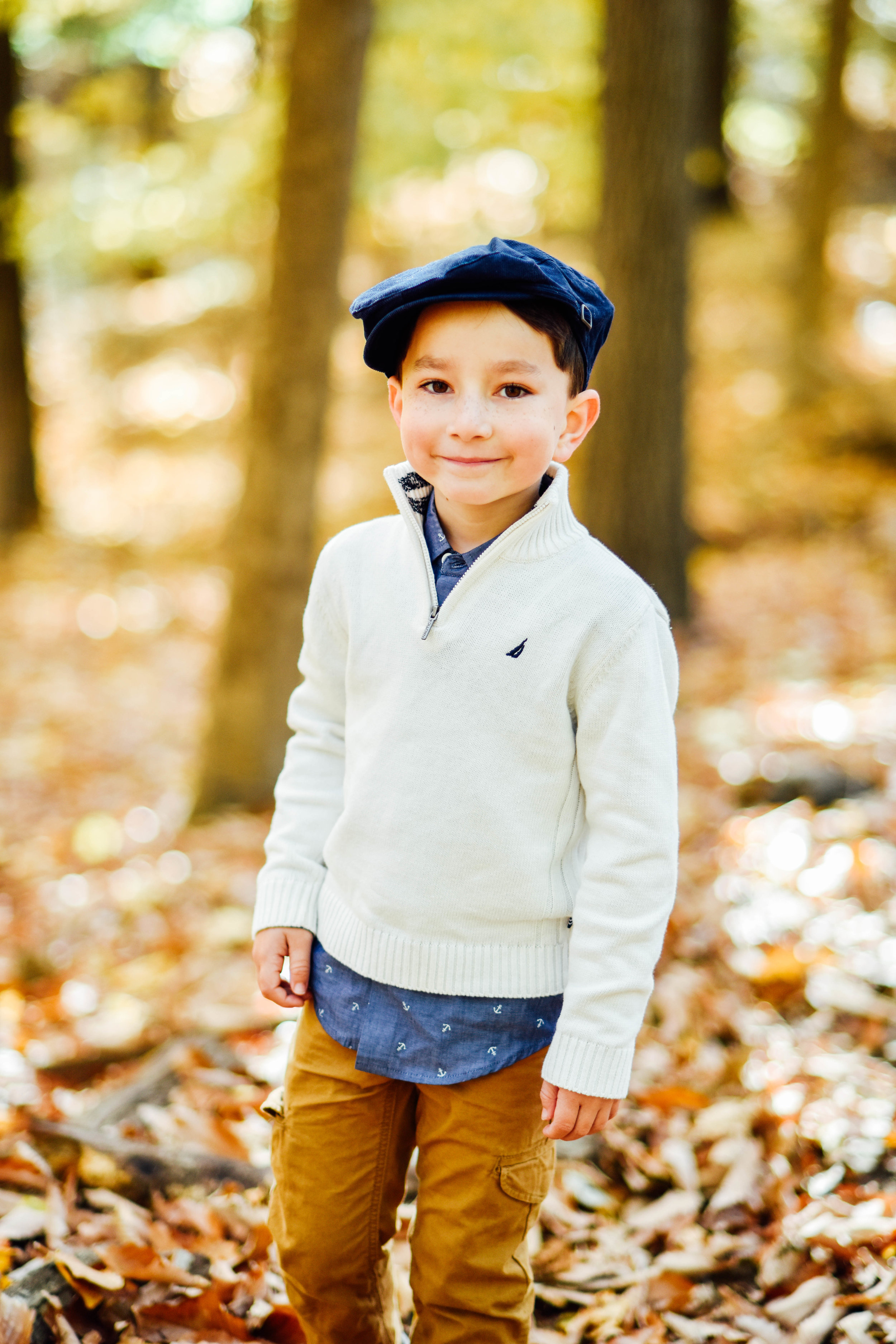 5 Year Old Boy Twin at Rock Creek Park DC Fall Photo Session