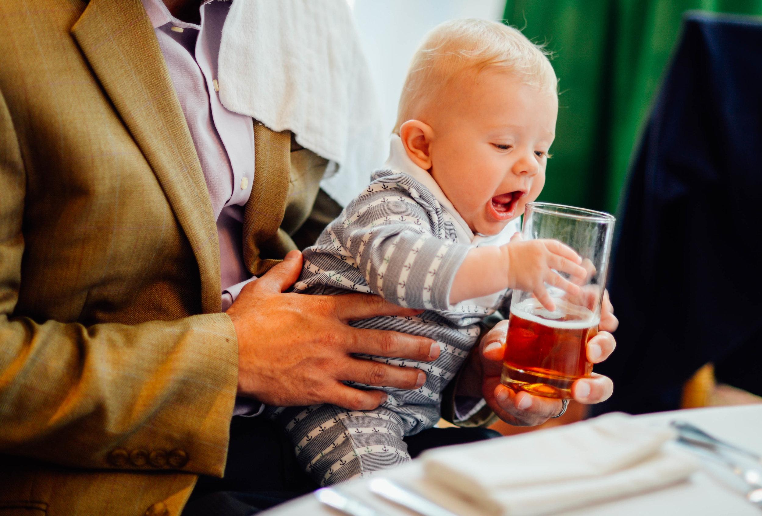 Baby and beer 2941 Restaurant Koi Pond Wedding Reception Falls Church
