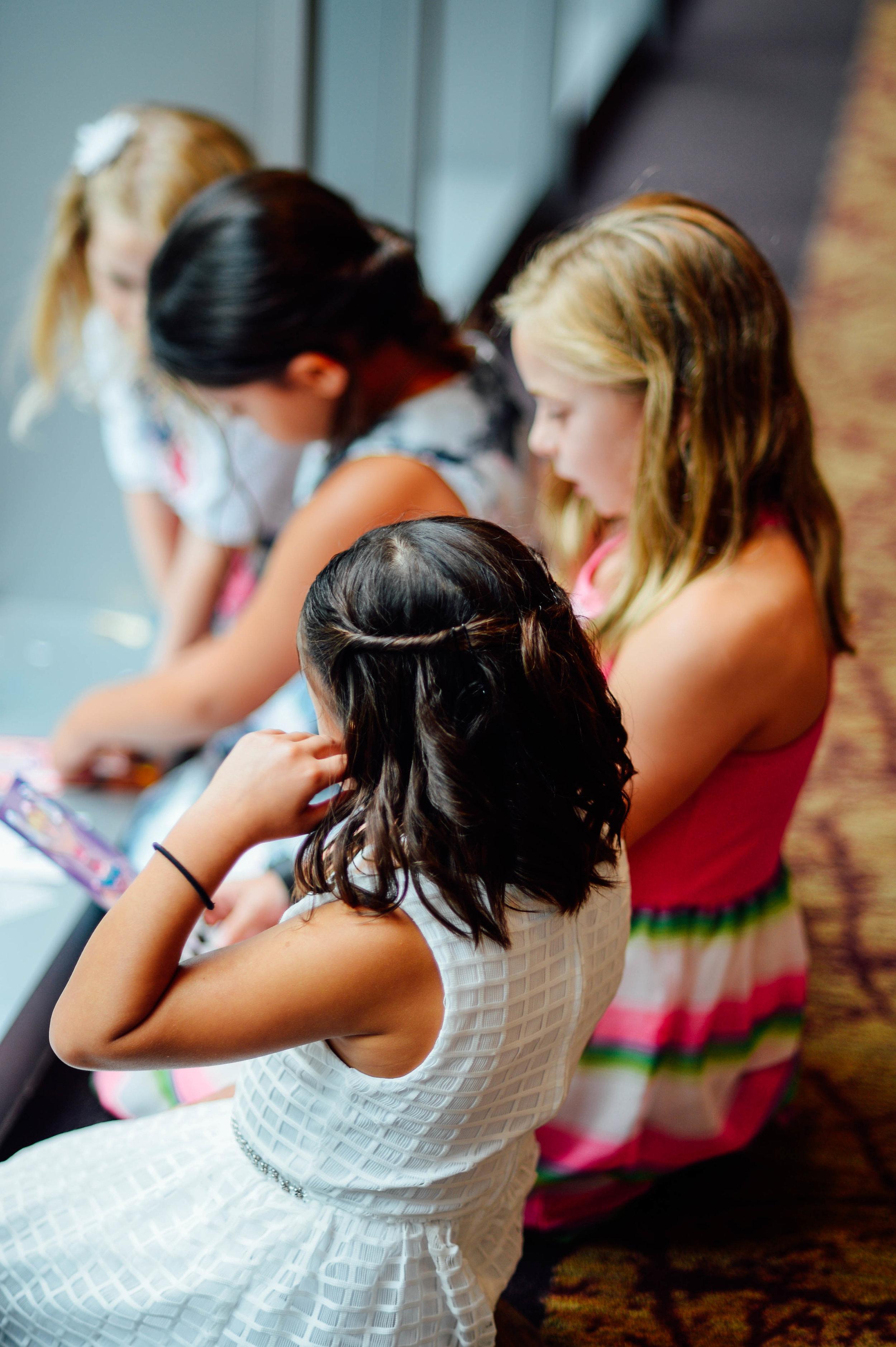 Girls coloring at 2941 Restaurant Koi Pond Wedding Reception Falls Church