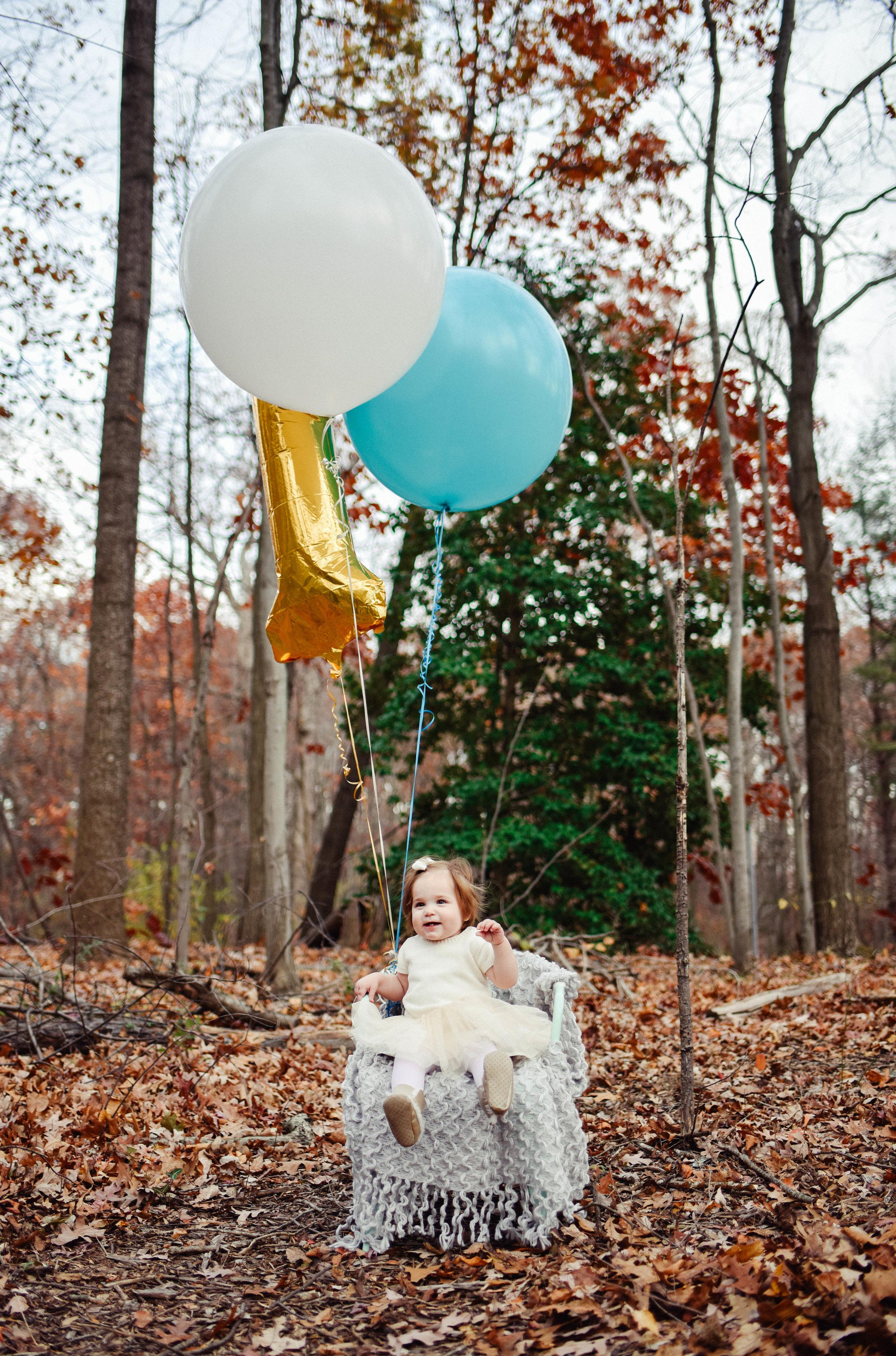 First birthday session with Mylar Balloons Lake Anne Reston VA