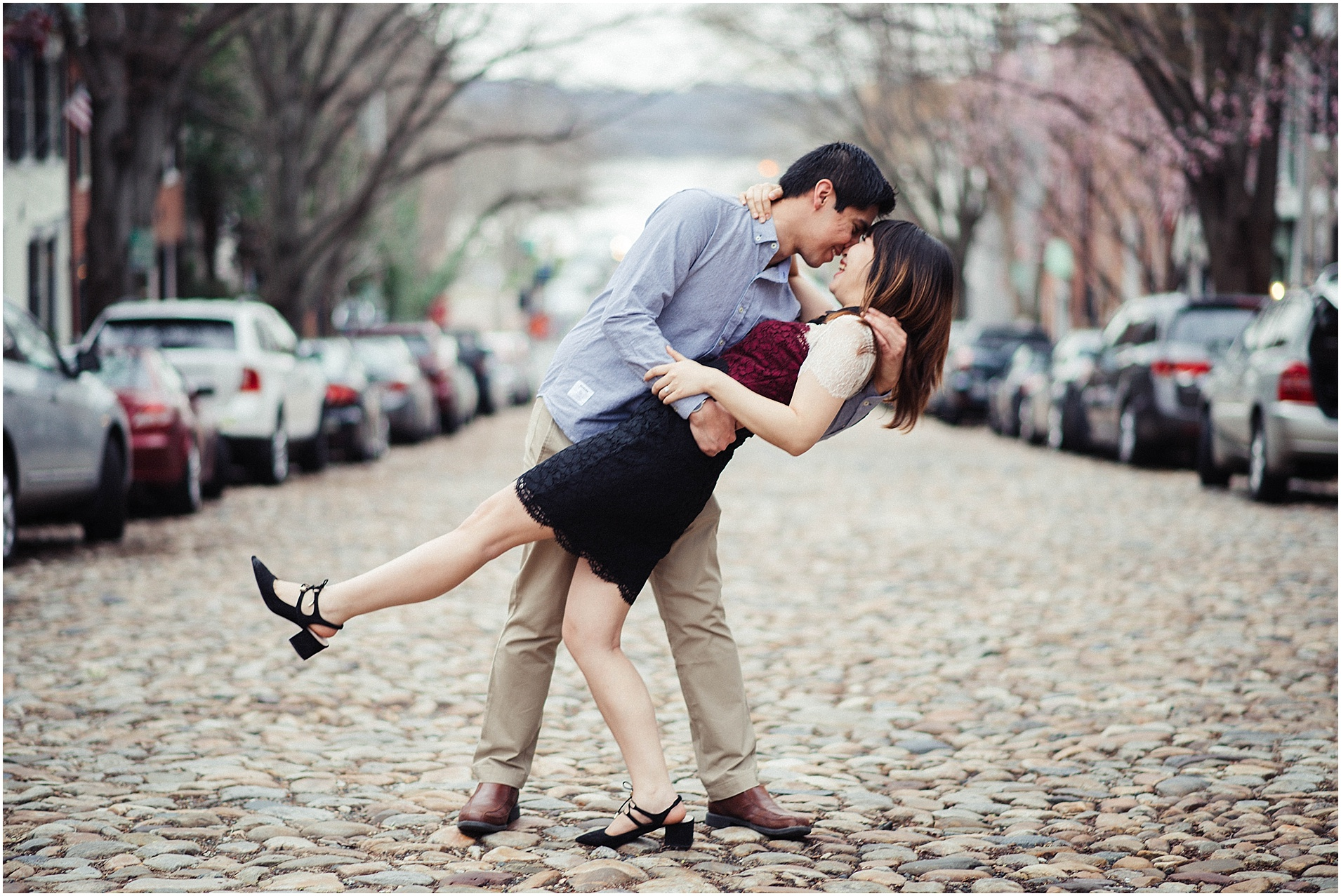 Old Town Alexandria Engagement Session on Cobblestone Street