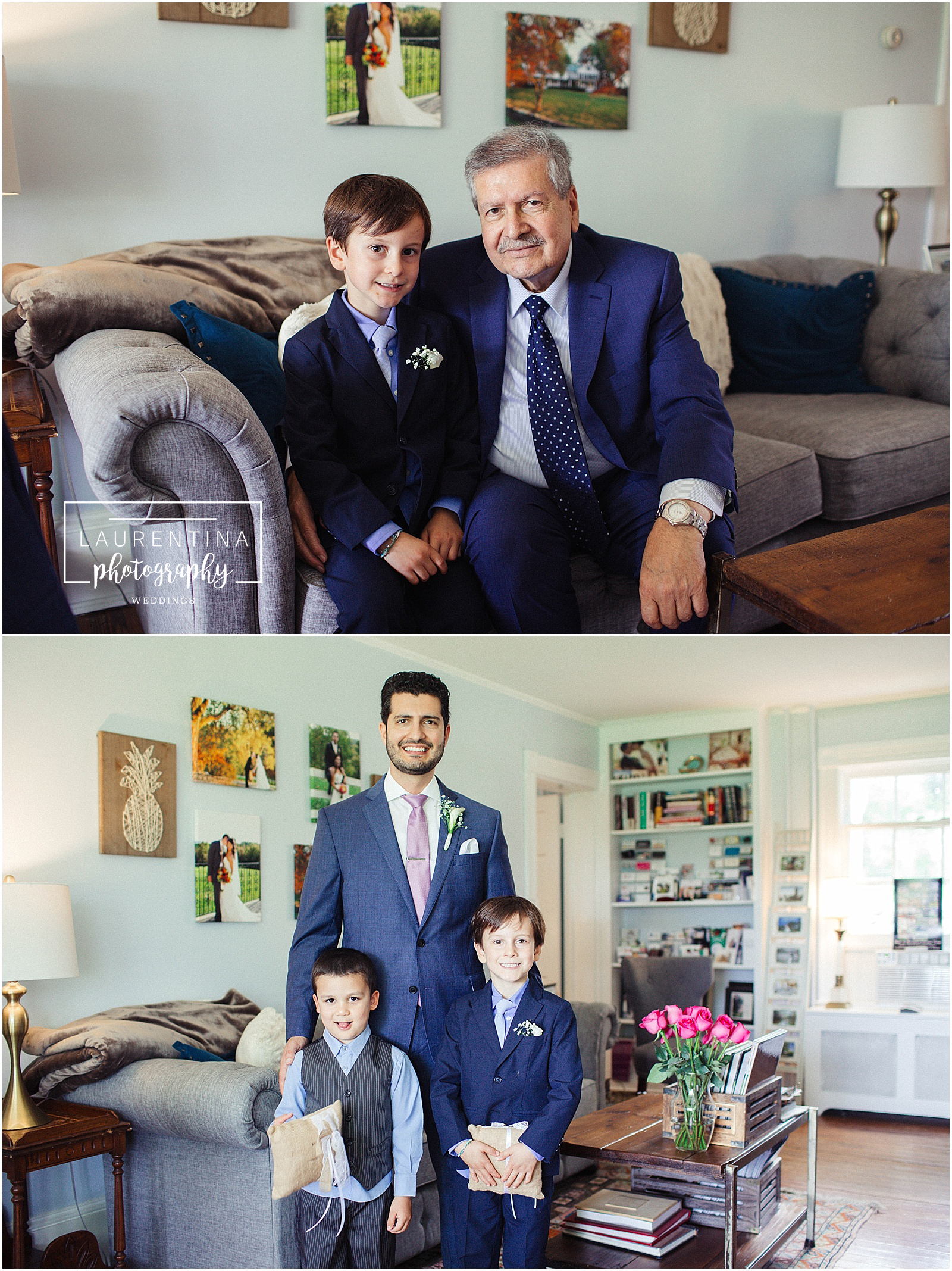 Groom with Ring Bearers Bahai Wedding Briar Patch Bed and Breakfast